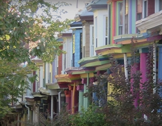 Colorful row homes line the streets of Baltimore