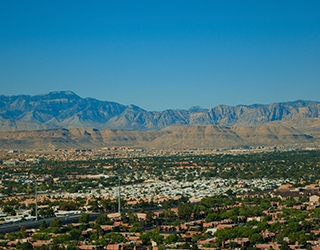 Aerial shot of the vast Las Vegas Valley