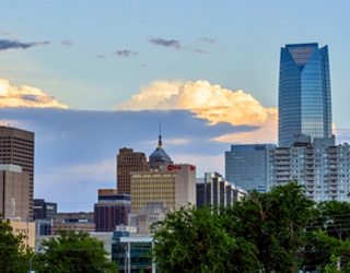A panorama of the Oklahoma City skyline