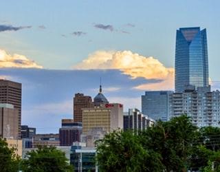 A panorama of the Oklahoma City skyline