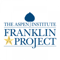 """A rectangular logo with a gold star and a blue leaf, and blue text reading """"The Aspen Institute Franklin Project."""""""