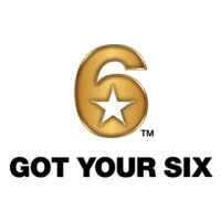"A square logo with a white background, featuring a golden 6 with a white star in the loop, and black block text reading ""Got Your Six."""