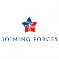 "A rectangular logo with a white background, featuring a 5-point star in blue and red suggesting hands holding hands, and black text reading ""Joining Forces."""