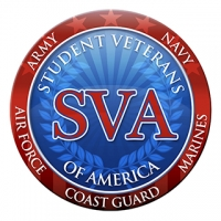 """A circular logo with a blue background, a red band on the outside with white text reading """"Army, Navy, Marines, Air Force, Coast Guard,"""" and a red SVA on the inside, with white text reading """"Student Veterans of America."""""""