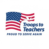"""A white rectangular logo featuring an American with a white apple, and blue text reading """"Troops to Teachers, proud to serve again."""""""