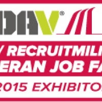 "A rectangular logo on a white background with a red square, and text reading ""DAV / Recruit-Military Veteran Job Fairs, 2015 Exhibitor."""