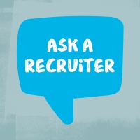 "Illustration of a blue chat bubble with text inside reading ""Ask a recruiter"""
