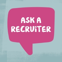 "Illustration of a magenta chat bubble with text inside reading ""Ask a recruiter"""