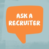 "Illustration of an orange chat bubble with text inside reading ""Ask a recruiter"""