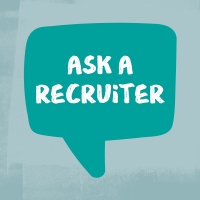 """Illustration of a tealchat bubble with text inside reading """"Ask a recruiter"""""""