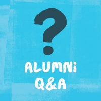 "illustration of a navy question mark on a light blue background with text ""alumni Q&A"""