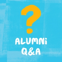"illustration of a yellow question mark on a light blue background with text ""alumni Q&A"""