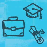 Illustration of a briefcase, graduation cap, and scroll in front of a light blue background.
