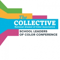 "Square icon with bright green, orange, blue, and purple stripes that reads, ""The Collective School Leaders of Color Conference"""