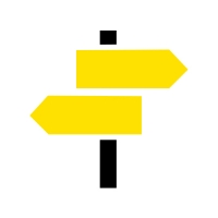 A graphic showing road signs pointing in different directions.