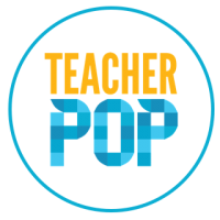"""A circular logo with a white background and a light blue border, with yellow and blue text reading """"Teacher Pop""""."""