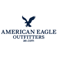 "A square logo with a white background featuring a dark blue silhouette of an eagle and the words ""American Eagle Outfitters ae.com"" in dark blue block letters."