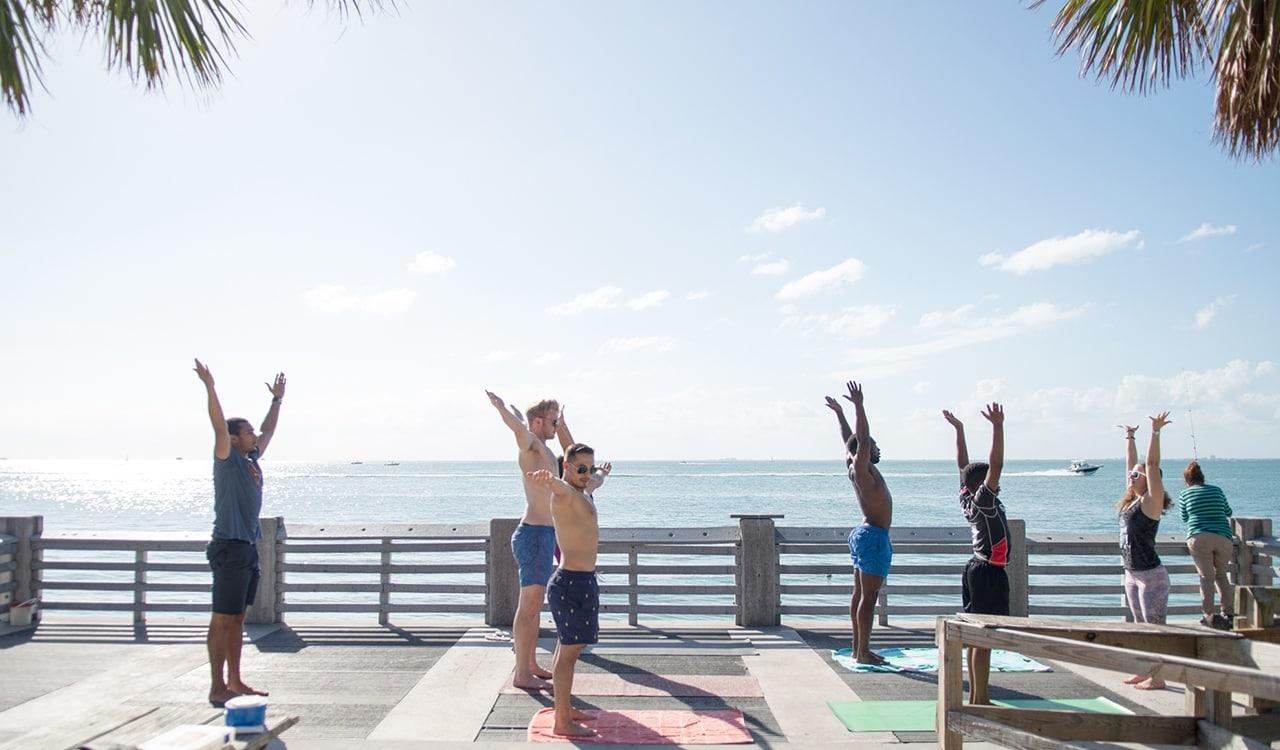 A group doing Yoga