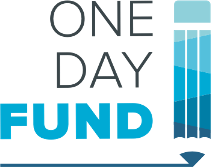 "blue and white logo that reads ""One Day Fund"" on the left and has a blue pencil image on the right"
