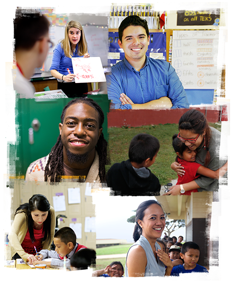 A collage of images of students and teachers smiling in classrooms.