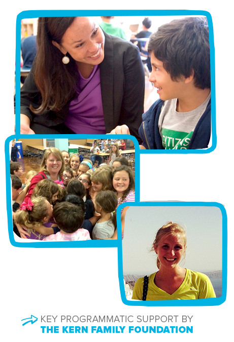 "Four photos of smiling teachers and students, with text reading ""key programmatic support from The Kern Family Foundation."""