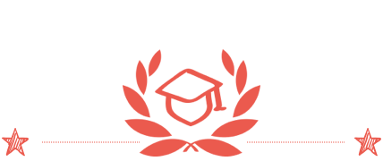 A rectangular image with a white background, red laurels and a mortarboard cap.