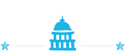 A rectangular image with a white background and an image of capitol hill in blue.
