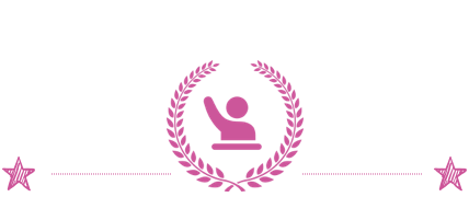 A rectangular image with a white background, pink laurels, and a figure holding up one arm.