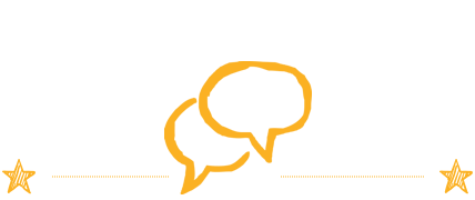 A rectangular image with a white background featuring yellow speech bubbles.