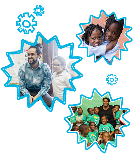 Three images of smiling teachers and students surrounded by blue hand-drawn starbursts.