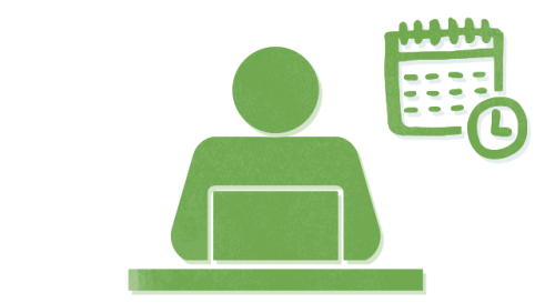 Green icon showing a person sitting behind a laptop with a calendar and clock behind them