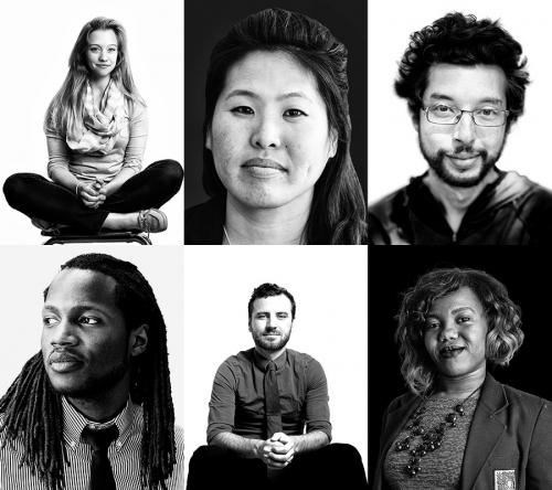 A collage of black and white headshots of a diverse group of people.