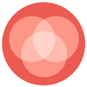 A circular logo with a red background, showing three overlapping circles.