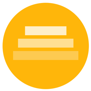 A circular logo with a yellow background showing three tiers.