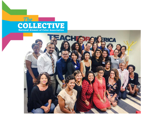 "A posed shot of a large group of smiling teachers in front of a ""Teach for America"" logo, and another logo reading ""The Collective."""