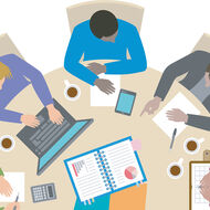 An illustration of people sitting at a round table.
