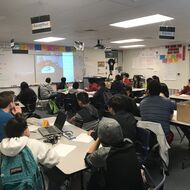 Students attend a virtual career fair in the classroom.