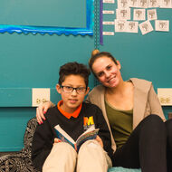 Female teacher with student