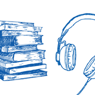 An illustration of books and headphones