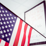 American flag in the classroom.