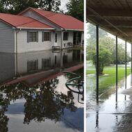 """Left: Pumping water out of """"Flood City,"""" New Roads, Louisiana, August 14, 2016. Right: Rosenwald Elementary School, New Roads, Louisiana, August 12, 2016"""