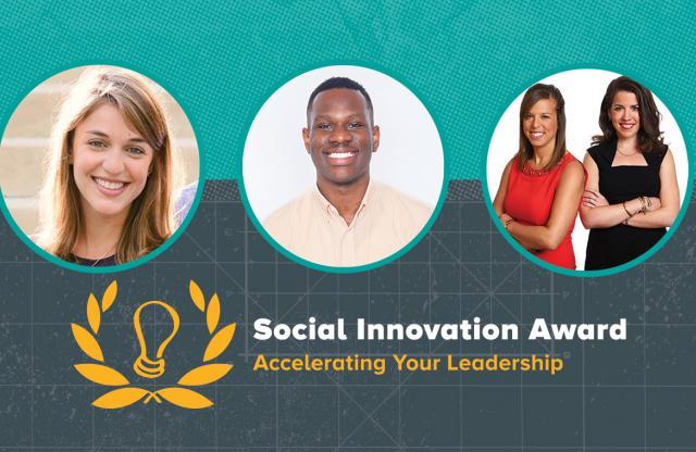 A rectangular logo with a green and gray background, featuring three head shots and an announcement these are the 2015 TFA Social Innovation Award winners.