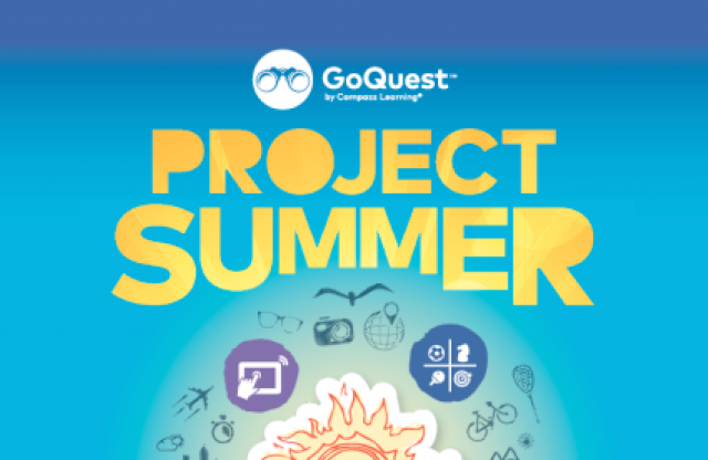 "A rectangular logo with a blue background featuring a rising sun, some application logos, and yellow text reading ""GoQuest Project Summer."""