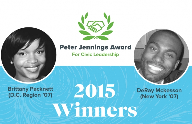 A rectangular logo with a black and white background featuring two head shots of the 2015 Peter Jennings Award for Civic Leadership winners.
