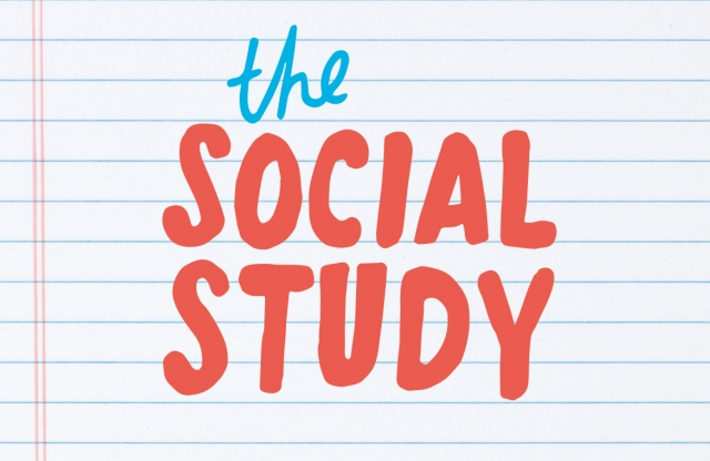 "A rectangular logo with a writing paper background and red and blue text reading ""the social study."""