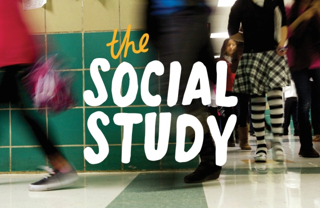 """A time-lapse shot of students moving through a school hallway, with white text reading """"the social study."""""""