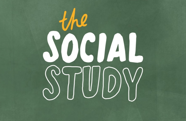 "A rectangular logo with a green background and white text reading ""the Social Study."""