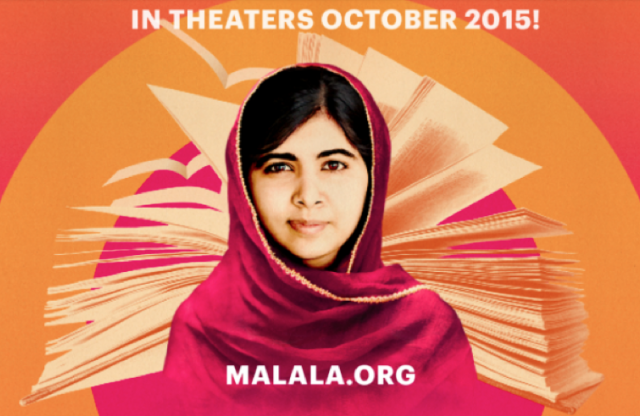 "A rectangular image with an orange background showing a young woman in a sari, and white text reading ""in theaters October 2015. Malala.org."""
