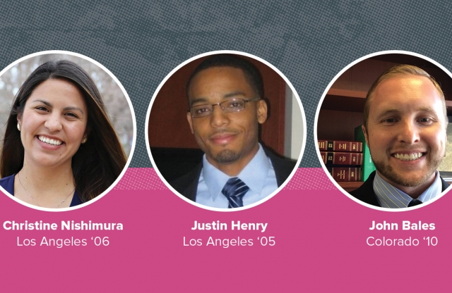 A rectangular image with a gray and pink background featuring three head shots of TFA alumni in white bordered circles.