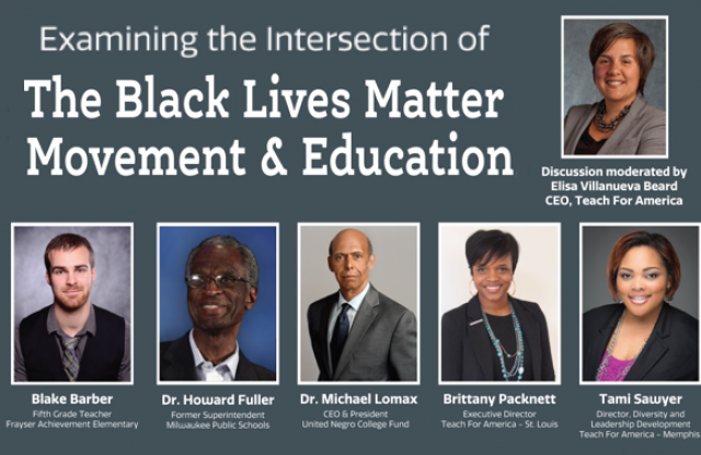 A rectangular image with a gray background featuring head shots of six speakers on the topic of the intersection of Black Lives Matter and Education.